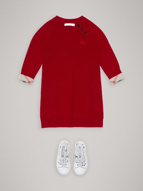 Cashmere Sweater Dress in Parade Red - Girl | Burberry United Kingdom - cell image 2
