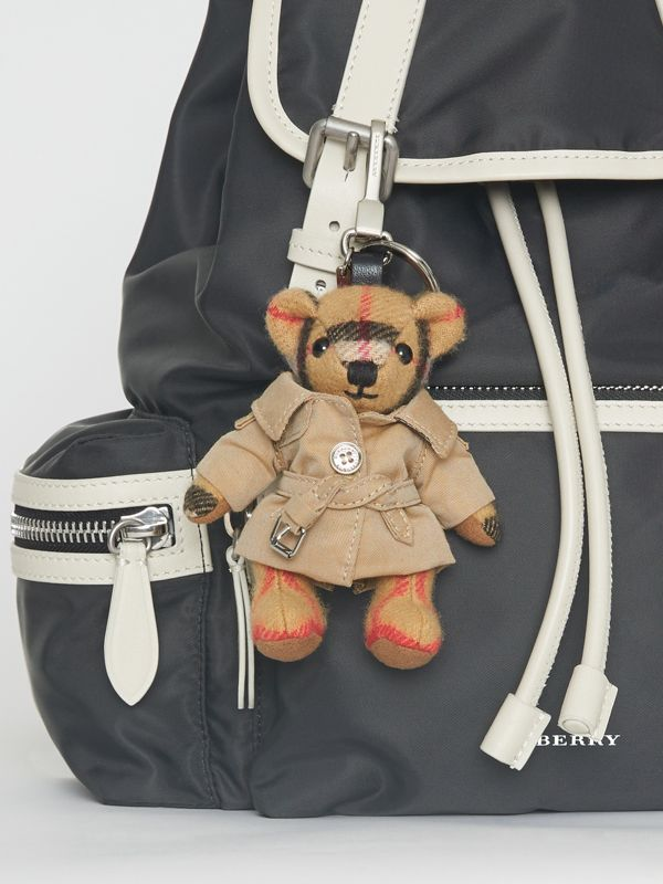 Thomas Bear Charm in Trench Coat in Antique Yellow | Burberry Australia - cell image 2