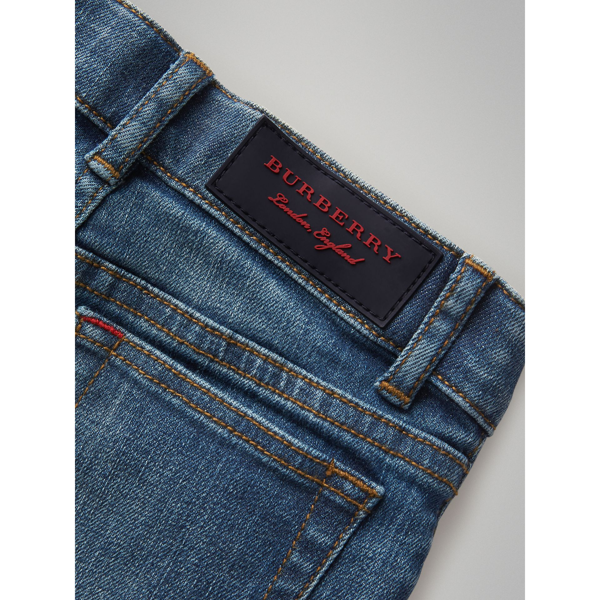 Skinny Fit Stretch Jeans in Mid Indigo | Burberry United Kingdom - gallery image 1