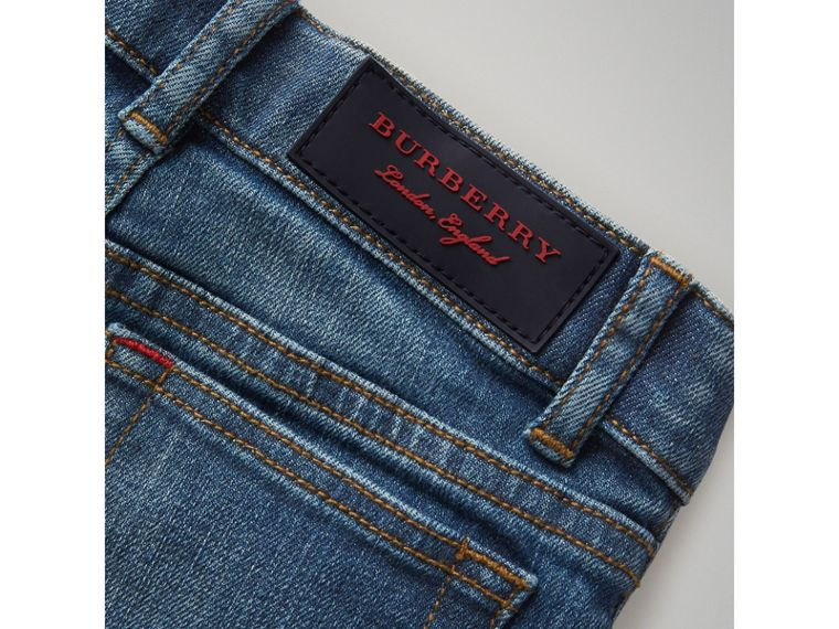 Skinny Fit Stretch Jeans in Mid Indigo - Boy | Burberry - cell image 1