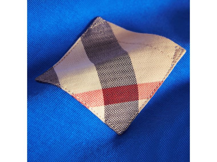 Check Pocket Cotton T-shirt in Cobalt Blue | Burberry Australia - cell image 1