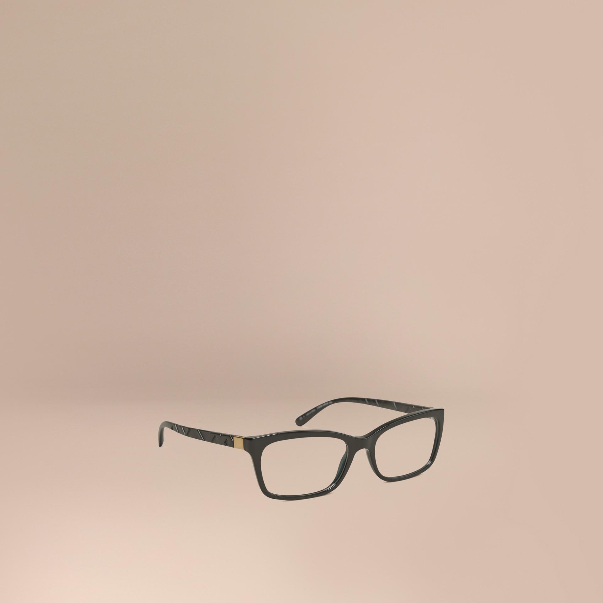 Noir Monture rectangulaire pour lunettes de vue avec détails check Noir - photo de la galerie 1