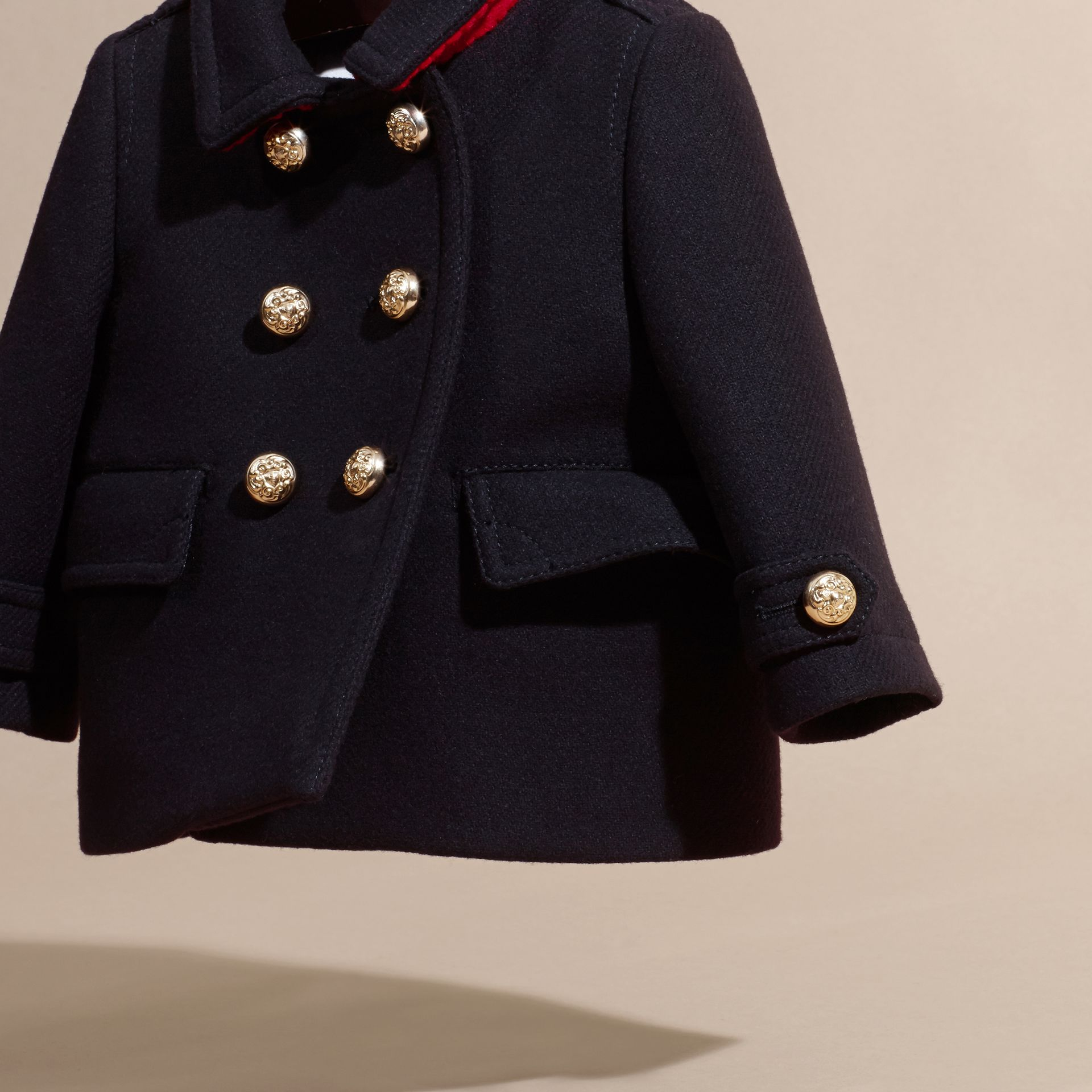 Navy Wool Cashmere Blend Pleat Detail Military Pea Coat - gallery image 3
