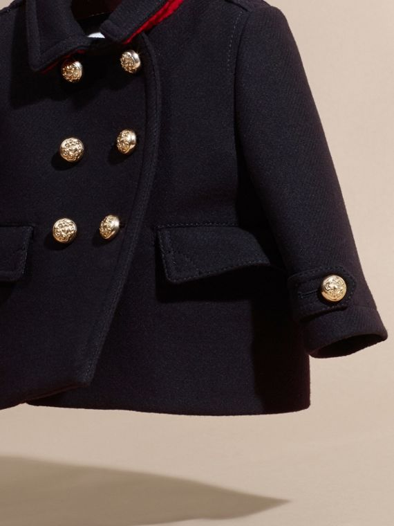 Navy Wool Cashmere Blend Pleat Detail Military Pea Coat - cell image 2