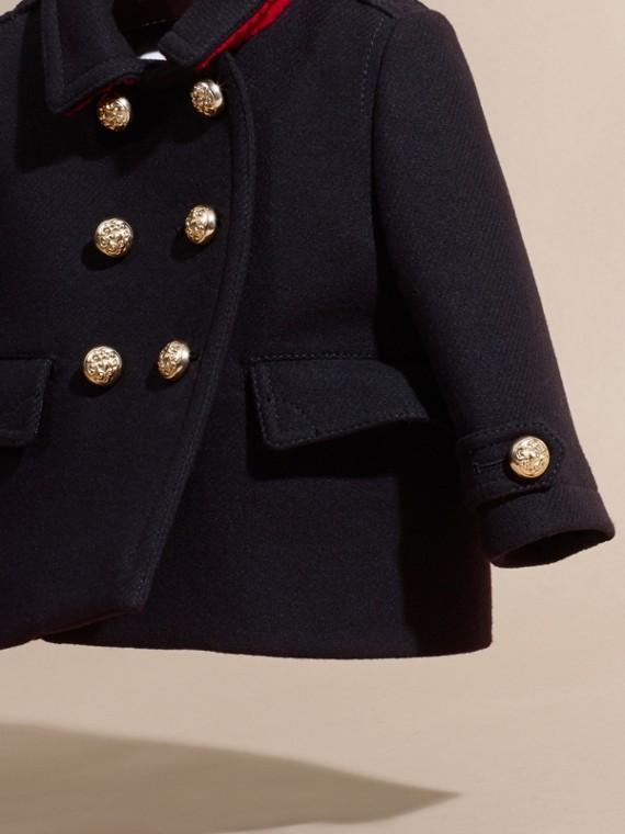 Azul marino Abrigo marinero militar en mezcla de lana y cachemir con detalles plisados - cell image 2