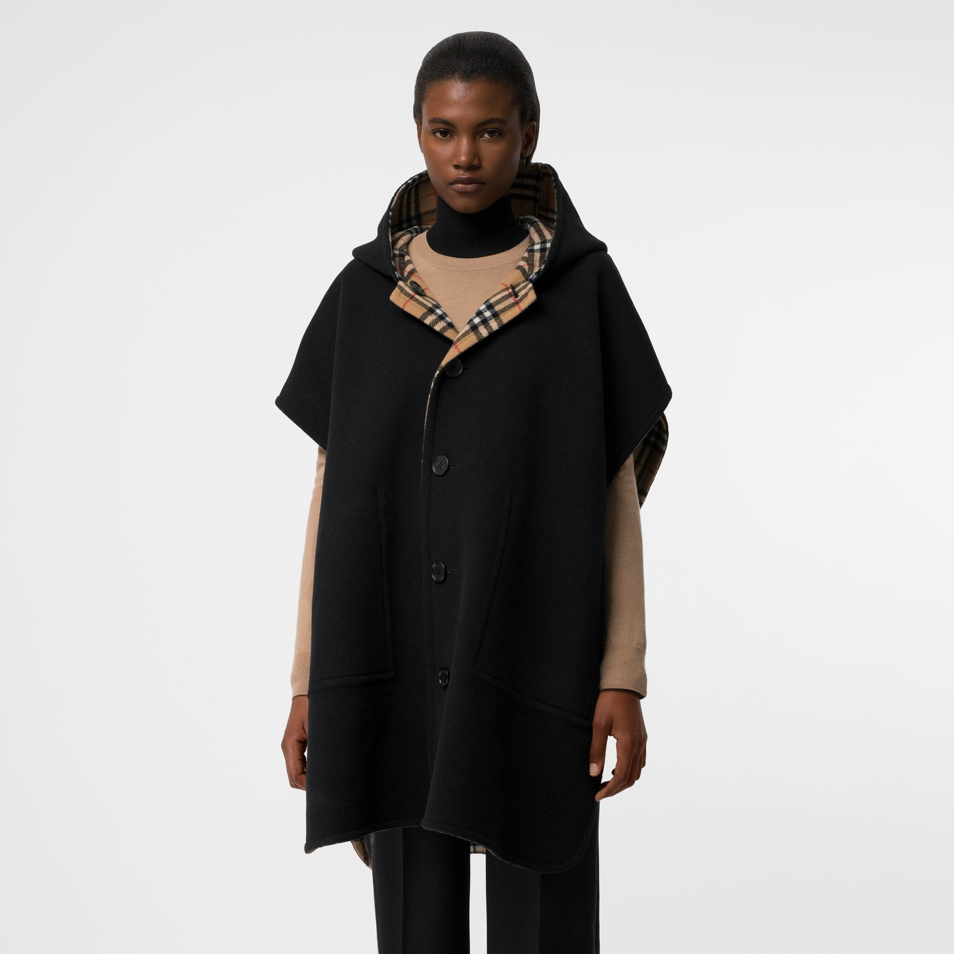 Reversible Vintage Check Hooded Poncho in Black - Women | Burberry - gallery image 3
