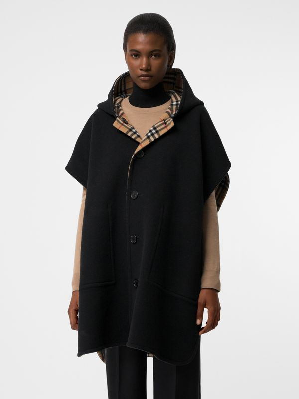 Reversible Vintage Check Hooded Poncho in Black - Women | Burberry Australia - cell image 3
