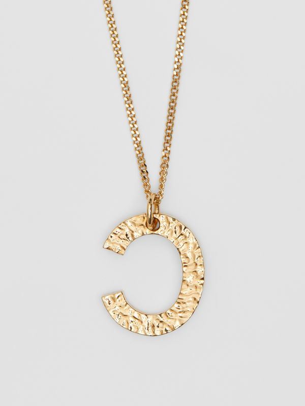 'C' Alphabet Charm Gold-plated Necklace in Light - Women | Burberry United Kingdom - cell image 2