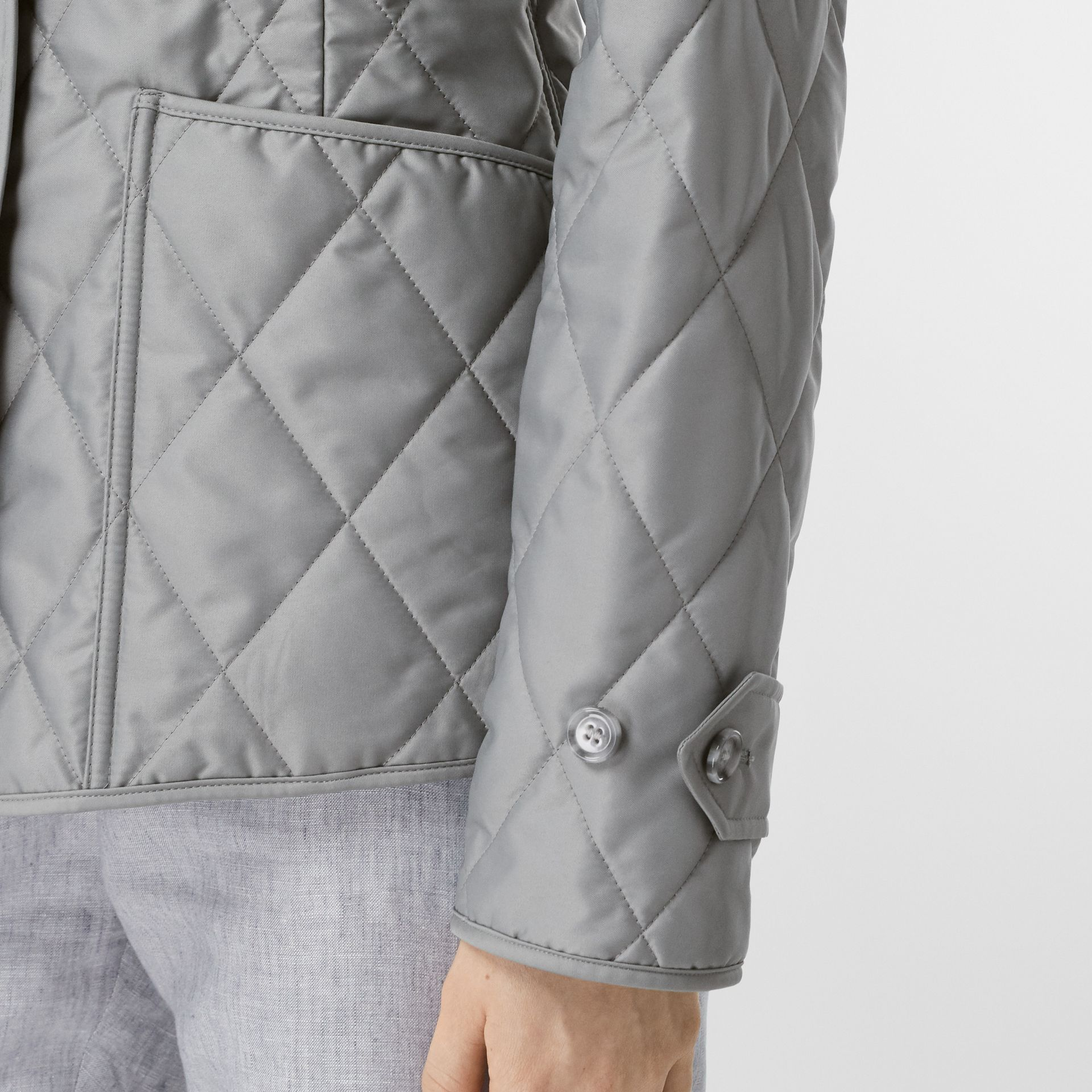 Diamond Quilted Thermoregulated Jacket in Mid Grey - Women | Burberry - gallery image 4