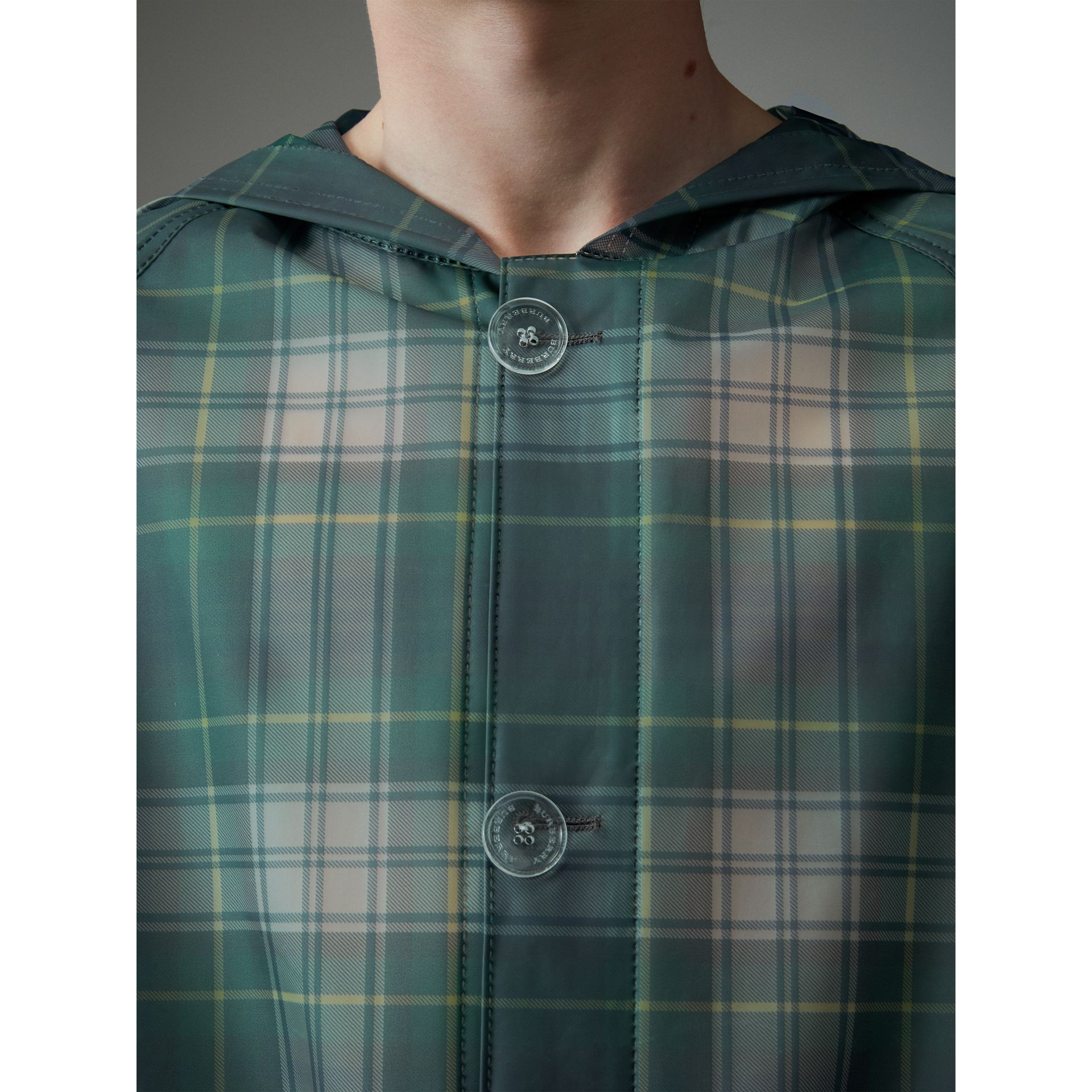 Tartan Soft-touch Plastic Hooded Car Coat in Navy - Men | Burberry United States - gallery image 4