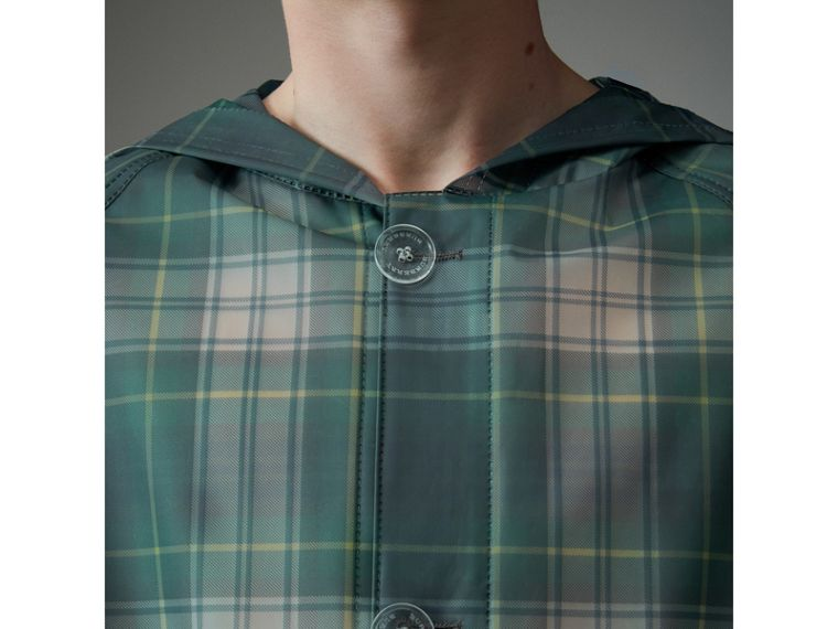 Tartan Soft-touch Plastic Hooded Car Coat in Navy - Men | Burberry United Kingdom - cell image 4