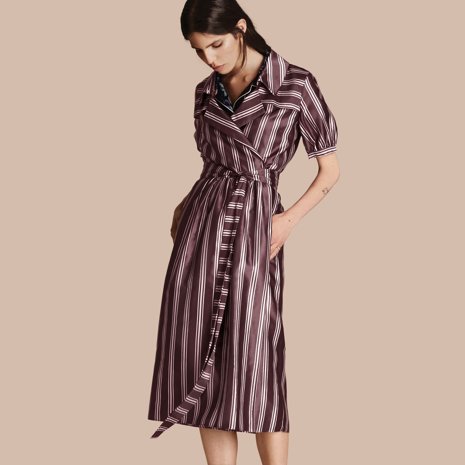 Crimson Panama Stripe Cotton Silk Fixed Wrap Dress - gallery image 6
