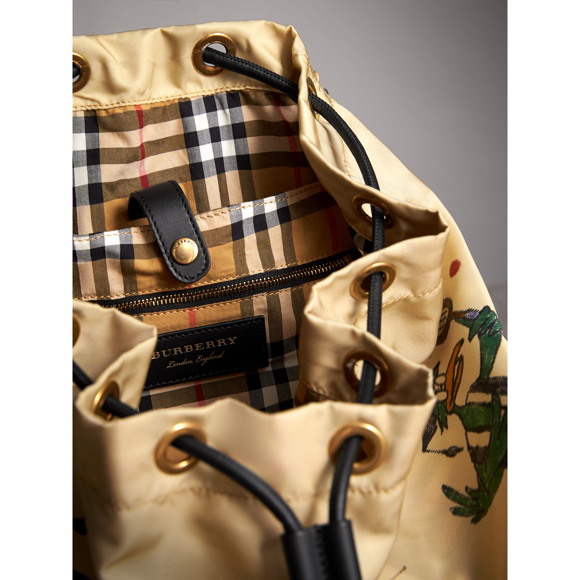 The Large Rucksack in Sketch Print Nylon in Honey | Burberry Singapore - gallery image 6