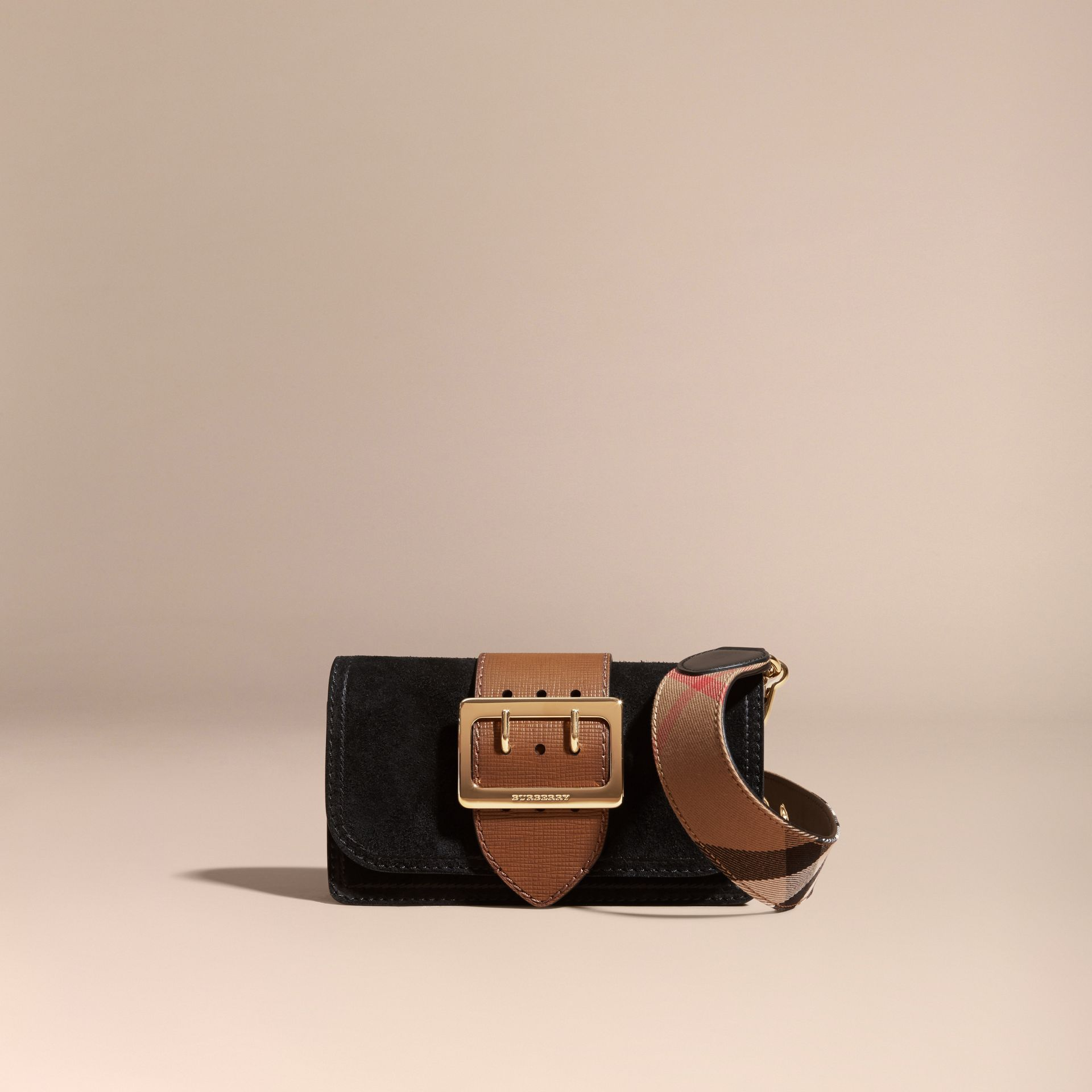 The Small Buckle Bag in Suede with Topstitching in Black / Tan - gallery image 9