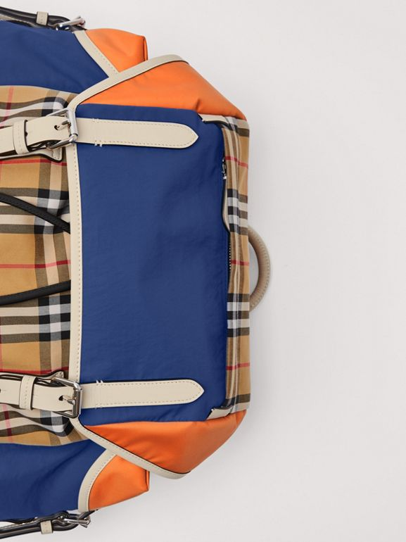 Colour Block Vintage Check and Leather Backpack in Cerulean Blue - Men | Burberry United Kingdom - cell image 1