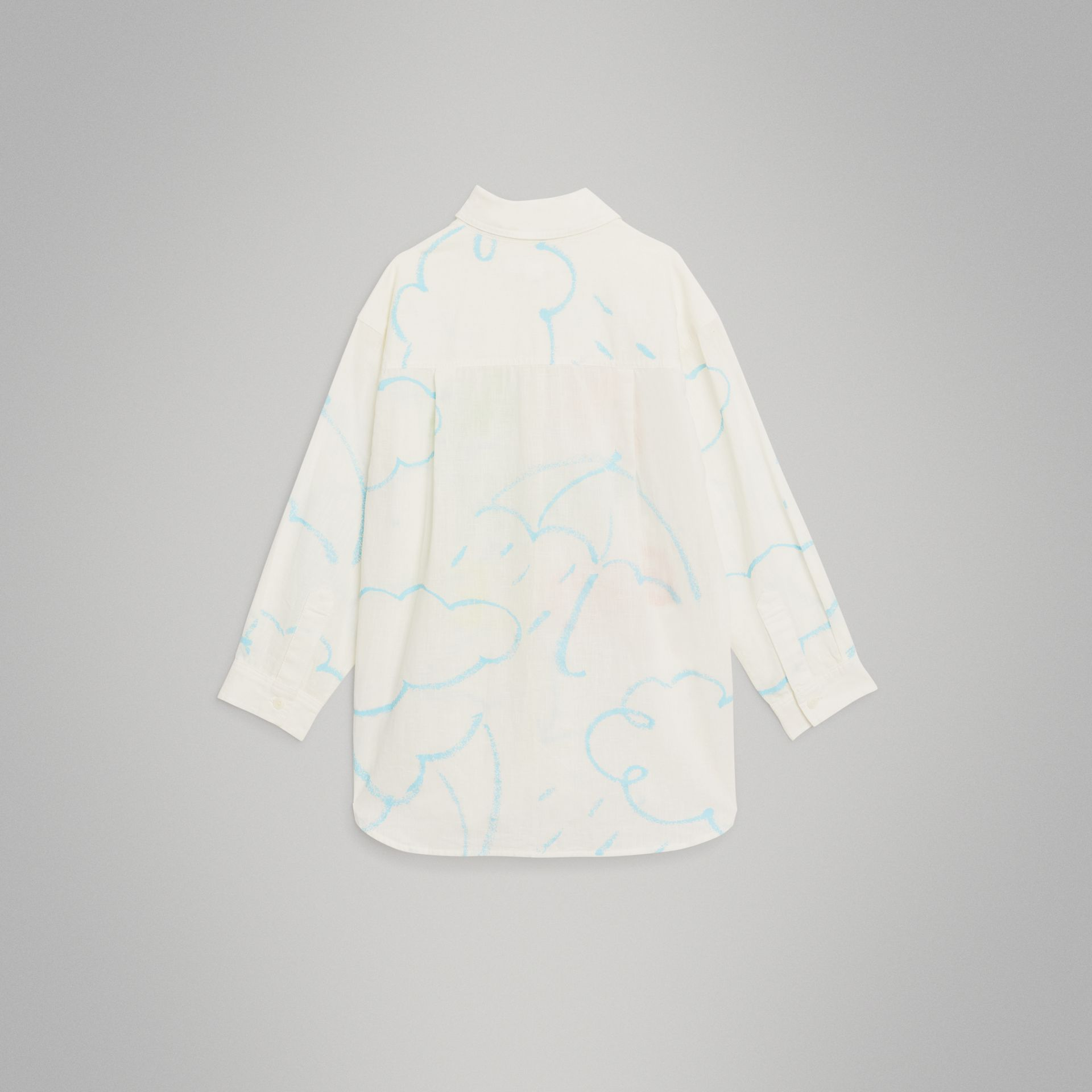 Umbrella Print Linen Cotton Shirt in White | Burberry United Kingdom - gallery image 3