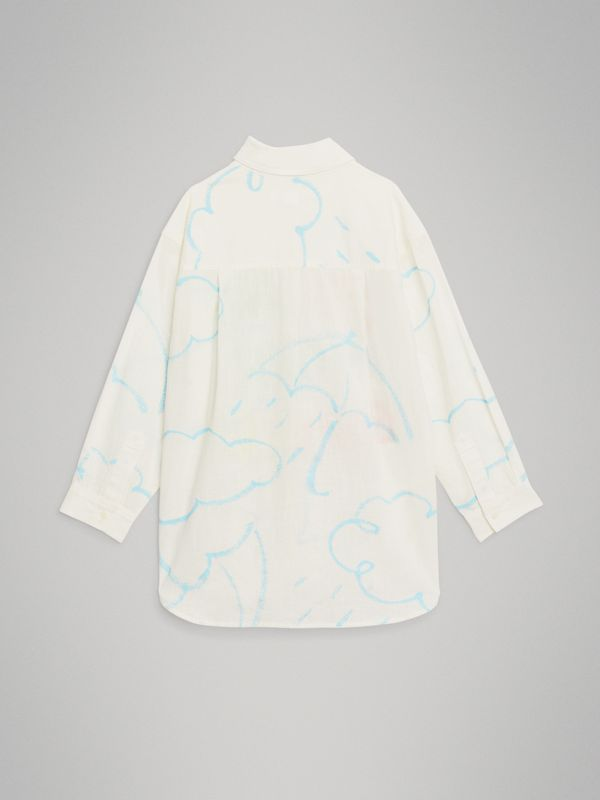 Umbrella Print Linen Cotton Shirt in White | Burberry United Kingdom - cell image 3