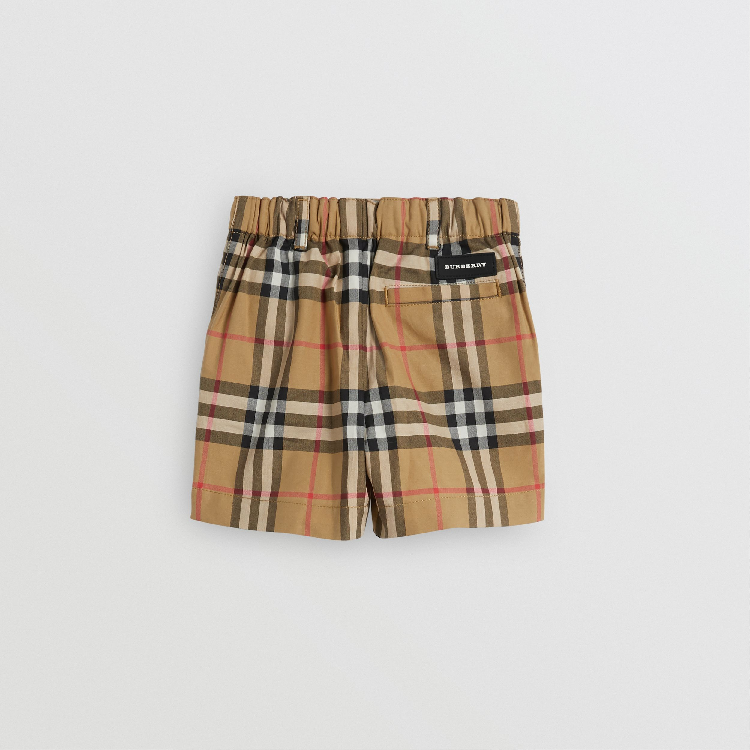 Vintage Check Cotton Tailored Shorts in Antique Yellow - Children | Burberry - 4