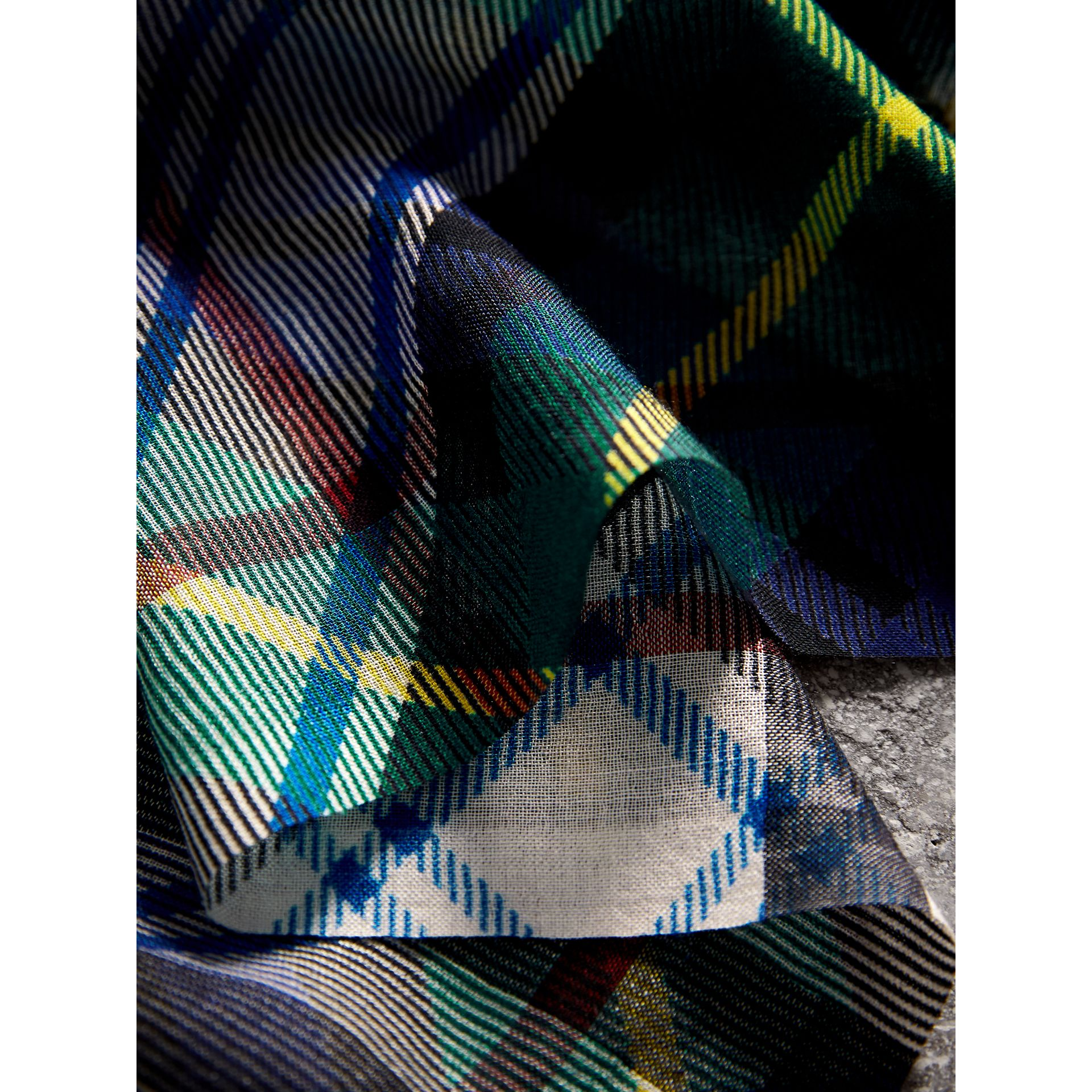 Tartan and Check Wool-silk Scarf in Ink Blue | Burberry - gallery image 1