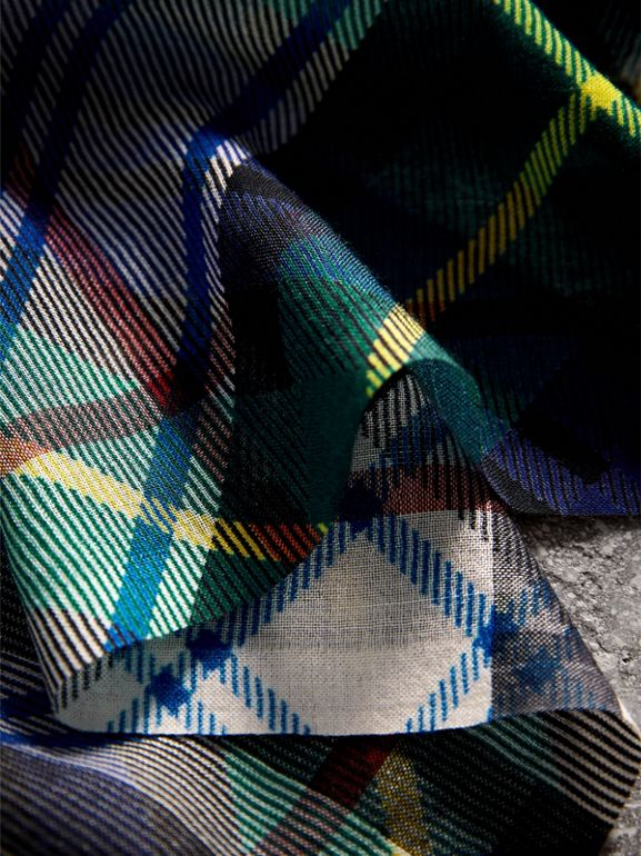 Tartan and Check Wool-silk Scarf in Ink Blue | Burberry - cell image 1