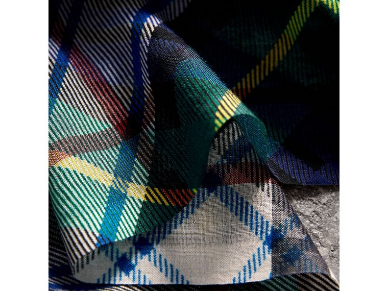 Tartan and Check Wool-silk Scarf in Ink Blue | Burberry United Kingdom - cell image 1