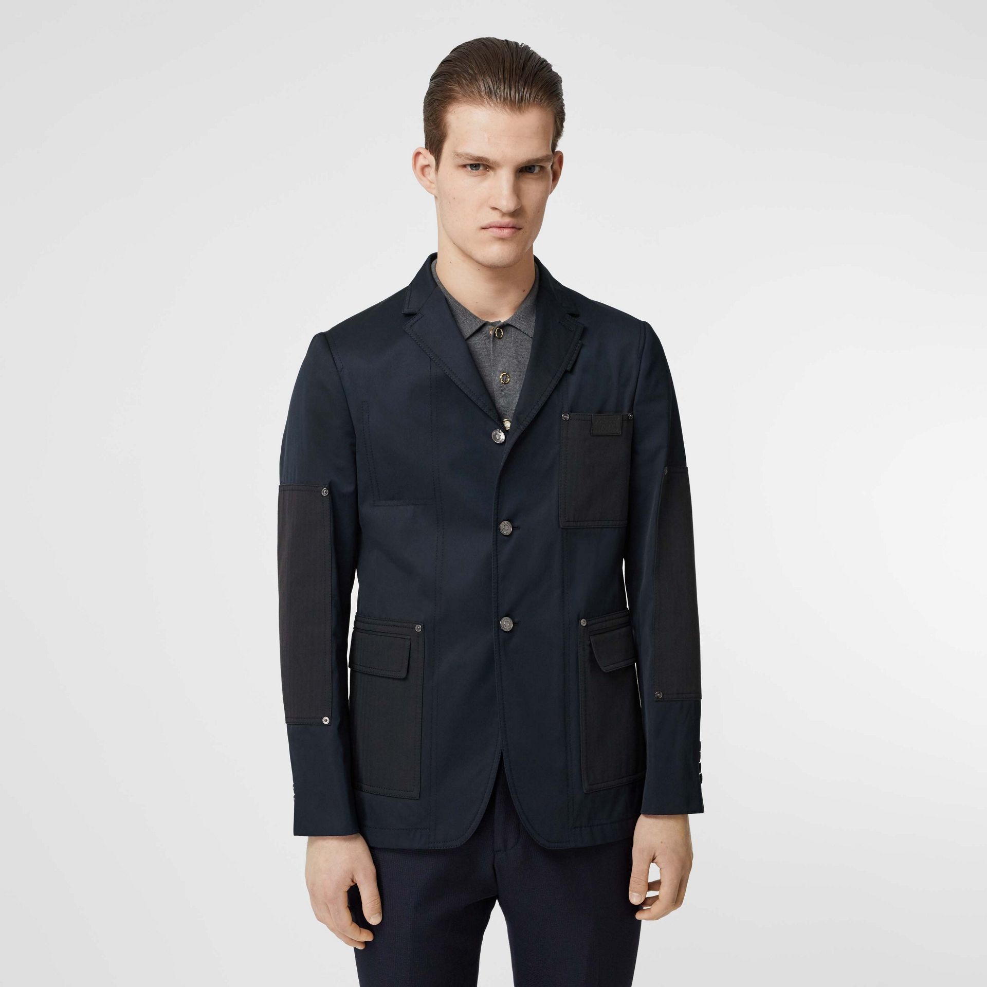 Herringbone Patch Detail Cotton Twill Blend Jacket in Navy - Men | Burberry - gallery image 5