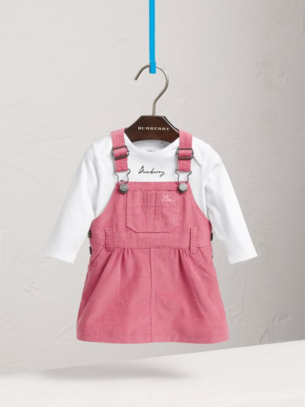 Cotton Corduroy Pinafore Dress in Mauve Pink | Burberry United States - cell image 2