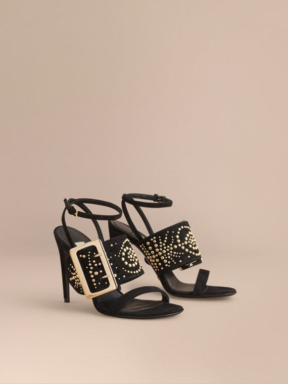 Riveted Suede Sandals with Buckle Detail