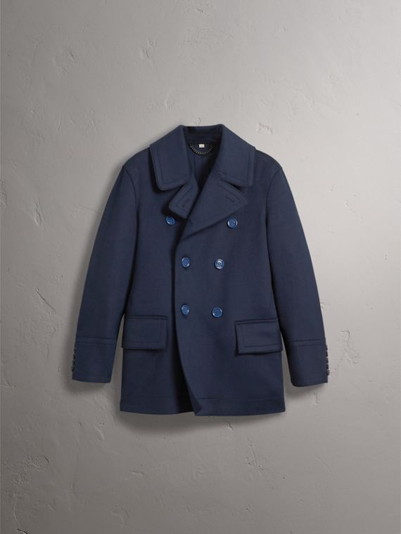 Resin Button Wool Pea Coat in Military Navy - Men | Burberry - cell image 3