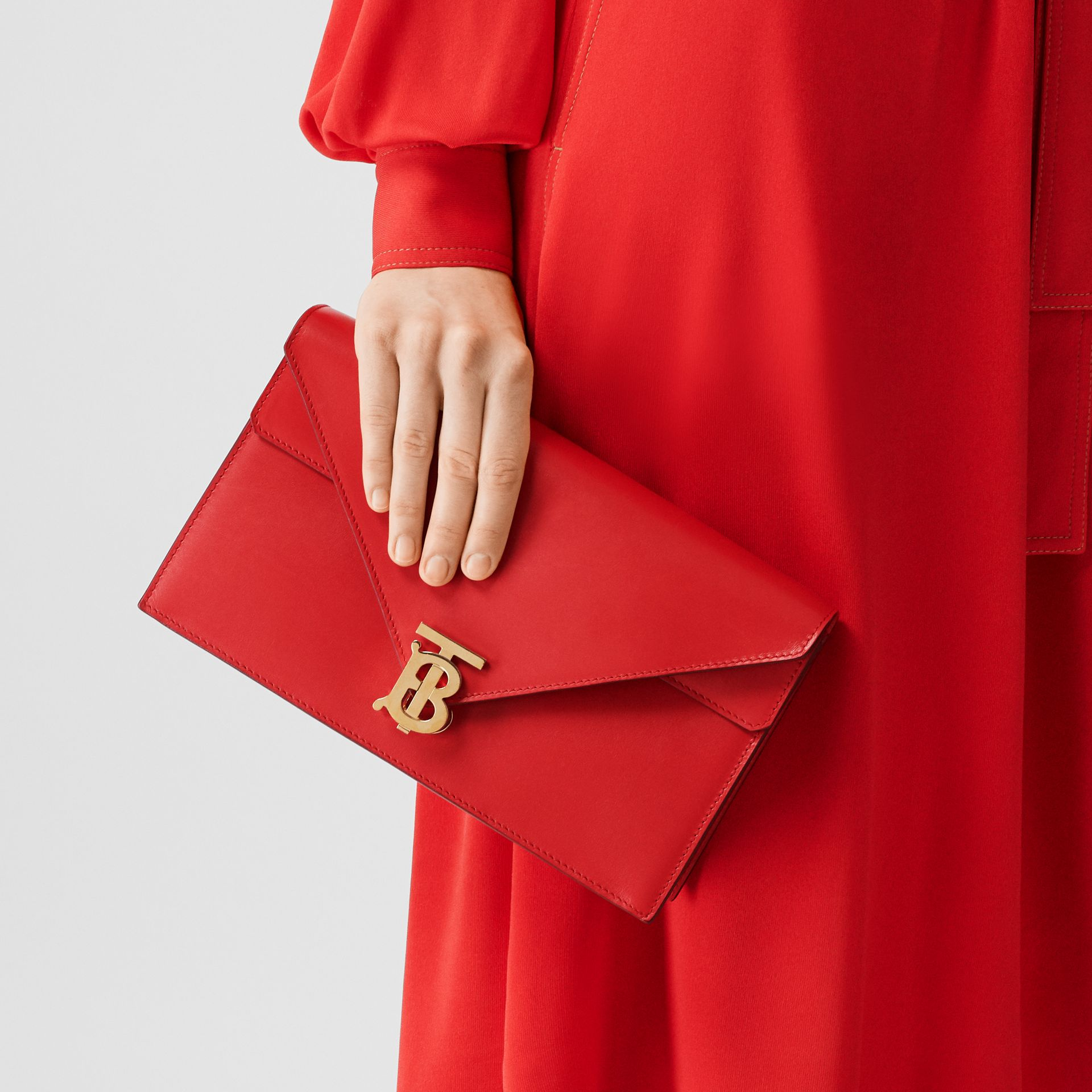 Small Leather TB Envelope Clutch in Bright Military Red - Women | Burberry - gallery image 2