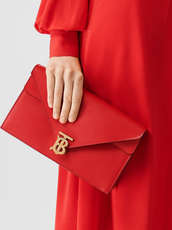 Small Leather TB Envelope Clutch in Bright Military Red - Women | Burberry - cell image 2