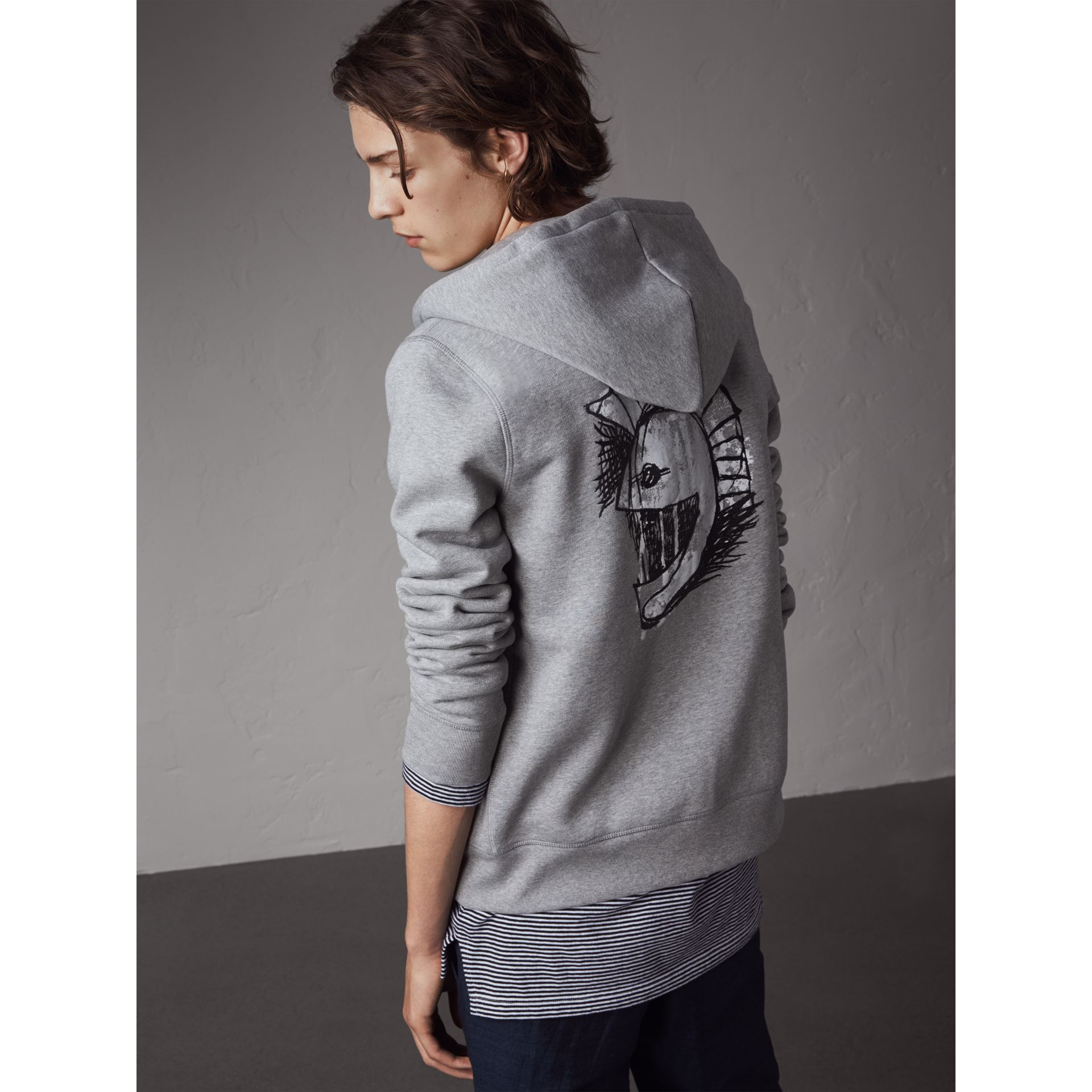 Pallas Helmet Cotton Blend Jersey Hooded Top in Grey Melange - Men | Burberry - gallery image 1