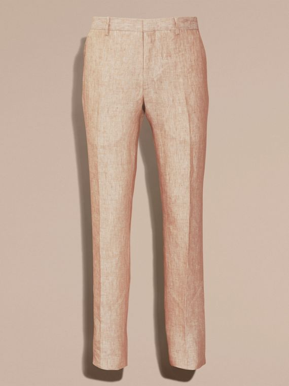 Pale stone Modern Fit Linen Trousers - cell image 3
