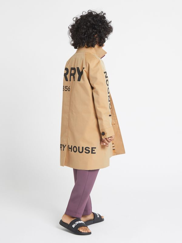 Horseferry Print Cotton Gabardine Car Coat in Honey | Burberry - cell image 3