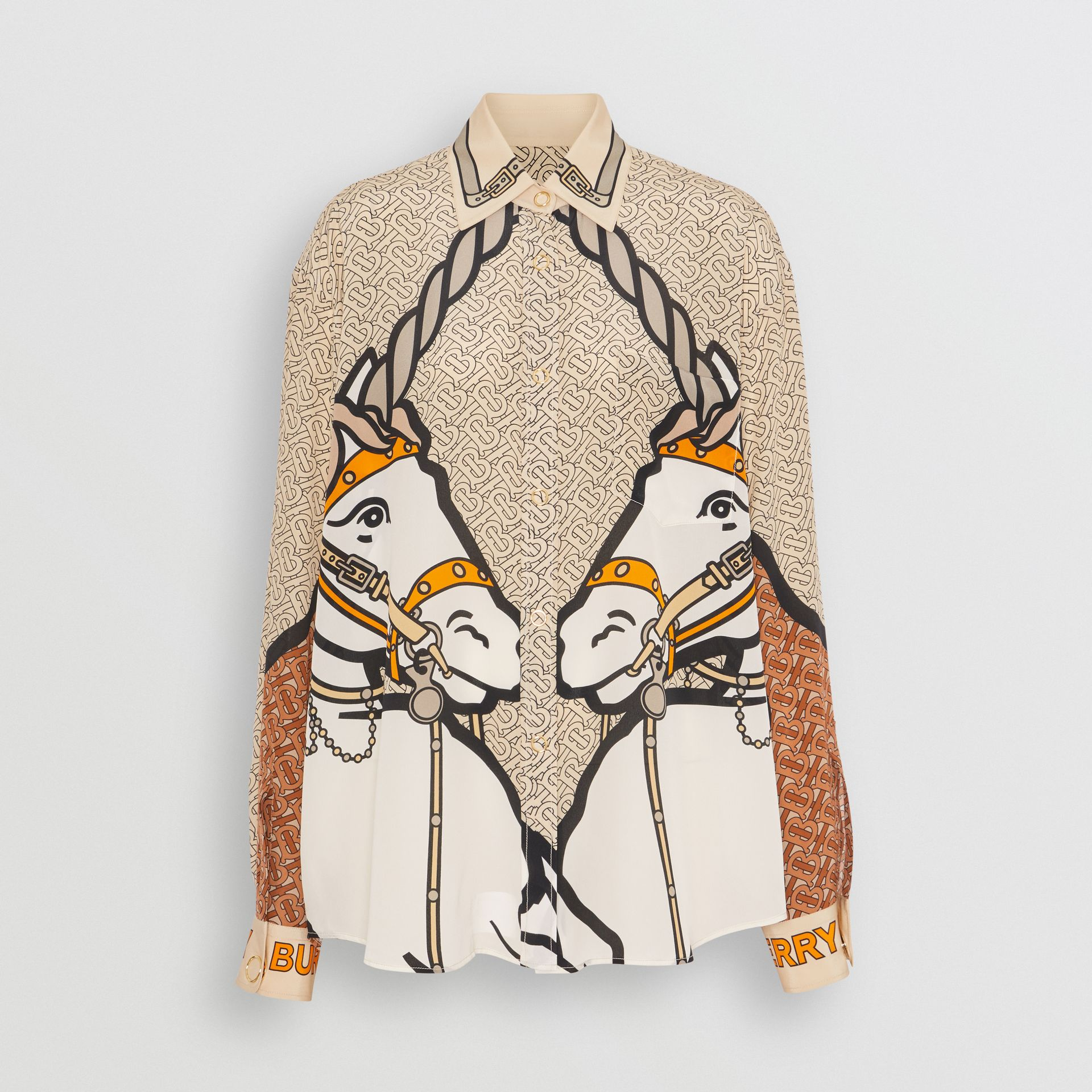 Unicorn and Monogram Print Silk Oversized Shirt in Light Camel - Women | Burberry - gallery image 3