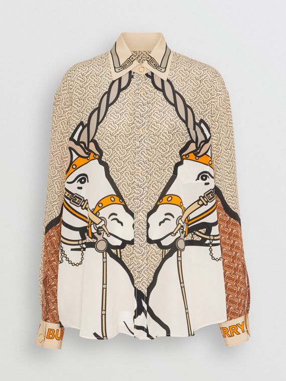 Unicorn and Monogram Print Silk Shirt in Light Camel