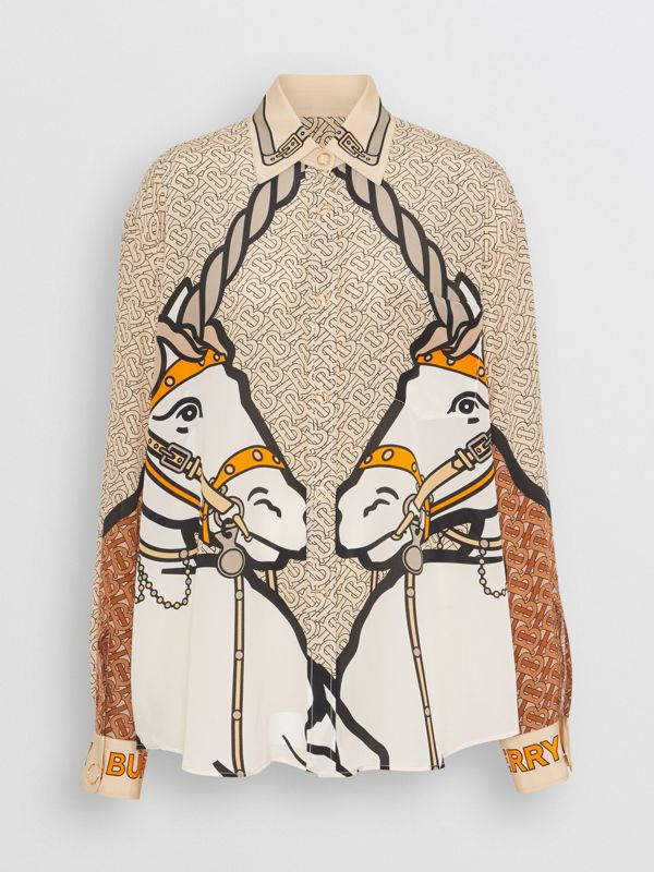 Unicorn and Monogram Print Silk Oversized Shirt in Light Camel - Women | Burberry - cell image 3