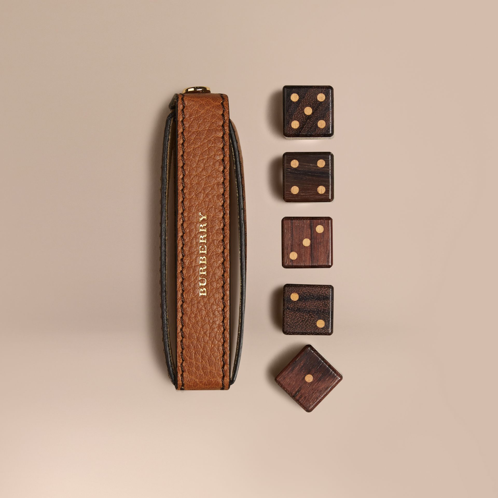 Tan Grainy Leather Dice Set with Case Tan - gallery image 1