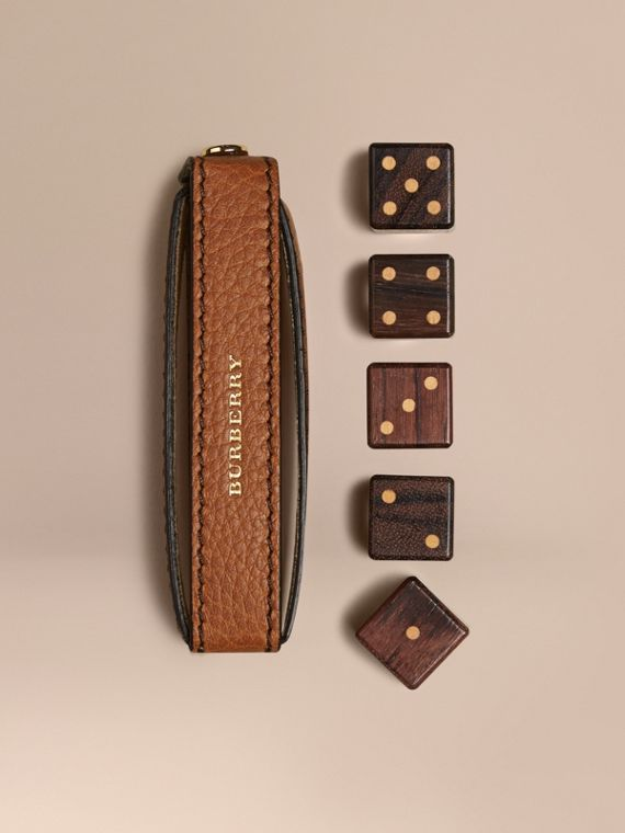 Grainy Leather Dice Set with Case Tan