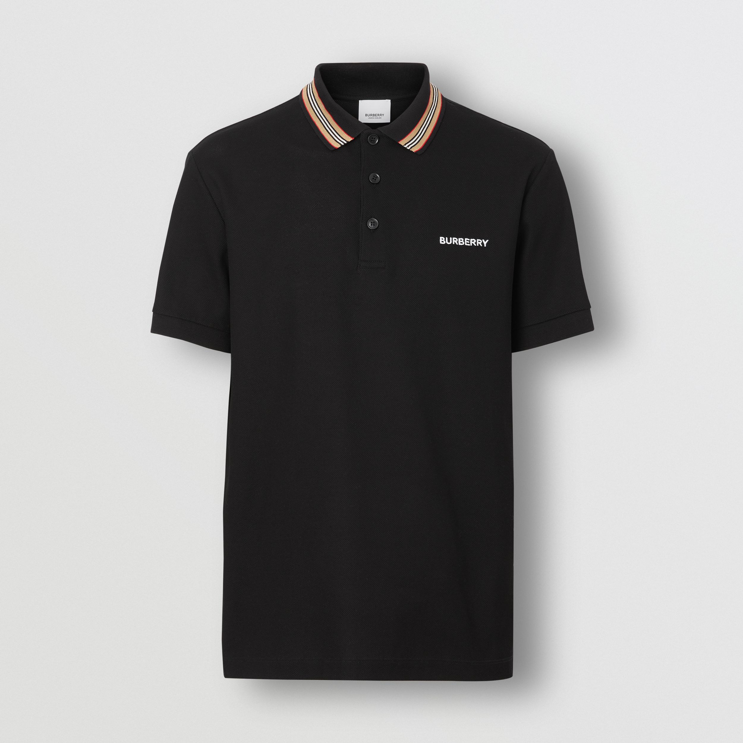 Icon Stripe Detail Cotton Piqué Polo Shirt in Black - Men | Burberry - 4