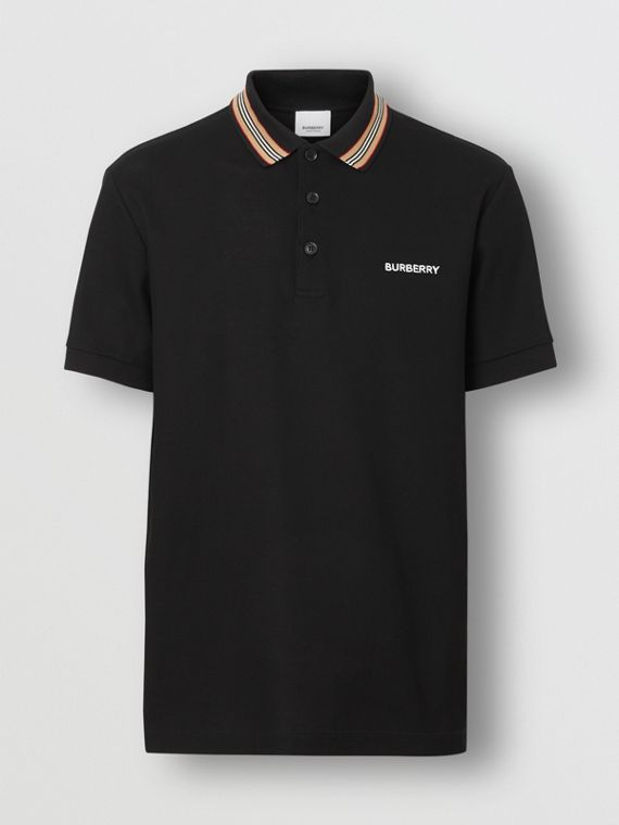 Icon Stripe Detail Cotton Piqué Polo Shirt in Black