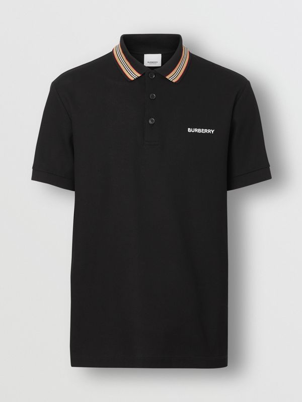 Icon Stripe Detail Cotton Piqué Polo Shirt in Black - Men | Burberry United Kingdom - cell image 3