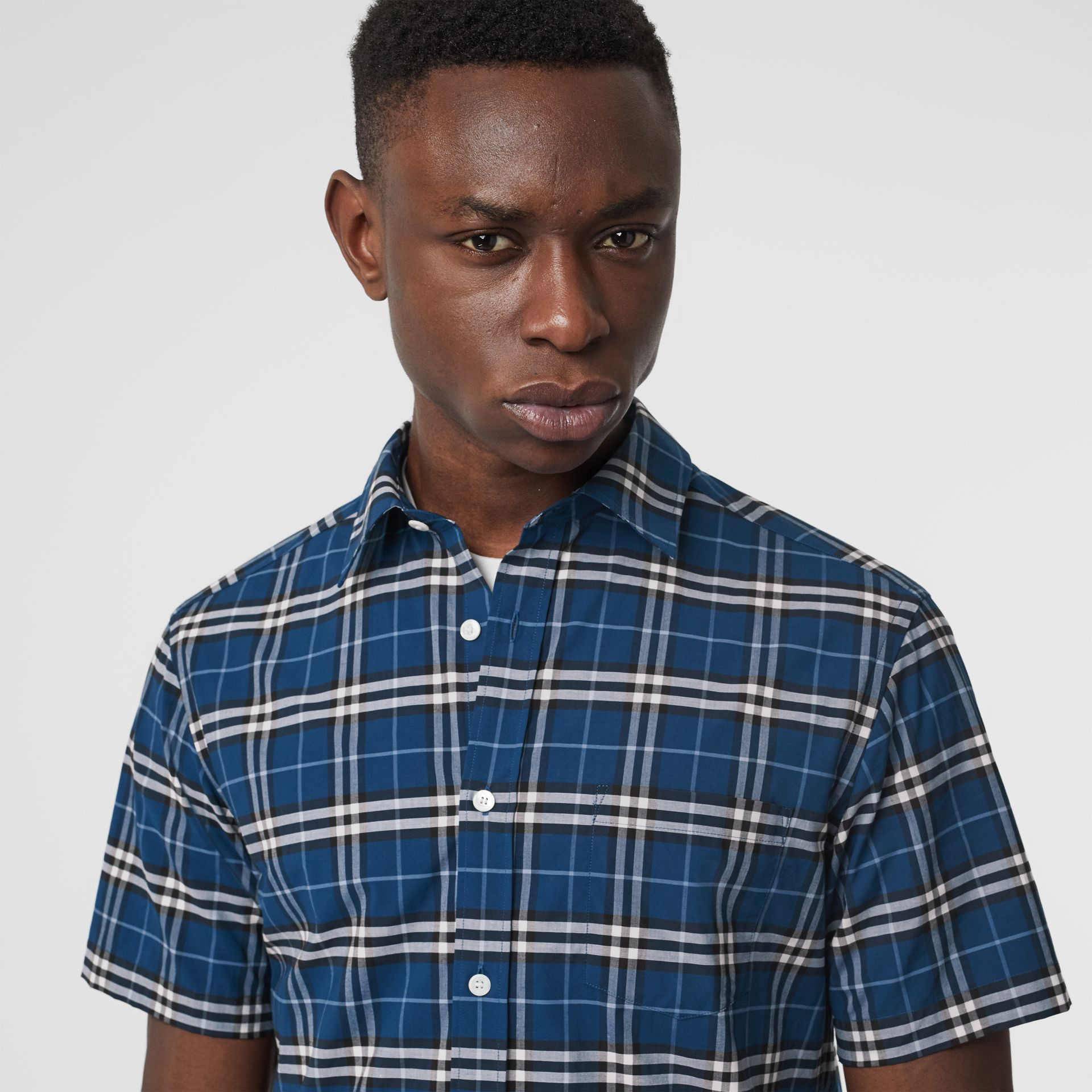 Short-sleeve Check Stretch Cotton Shirt in Steel Blue - Men | Burberry Singapore - gallery image 1