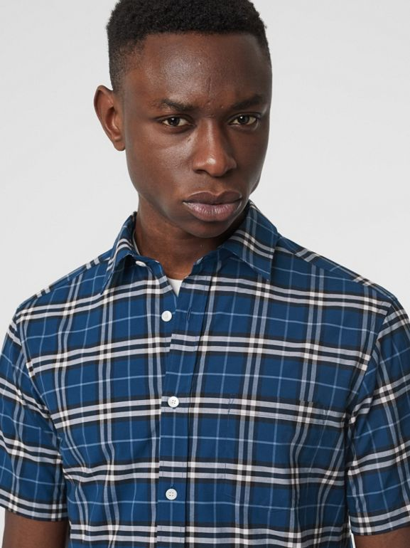 Short-sleeve Check Stretch Cotton Shirt in Steel Blue - Men | Burberry - cell image 1
