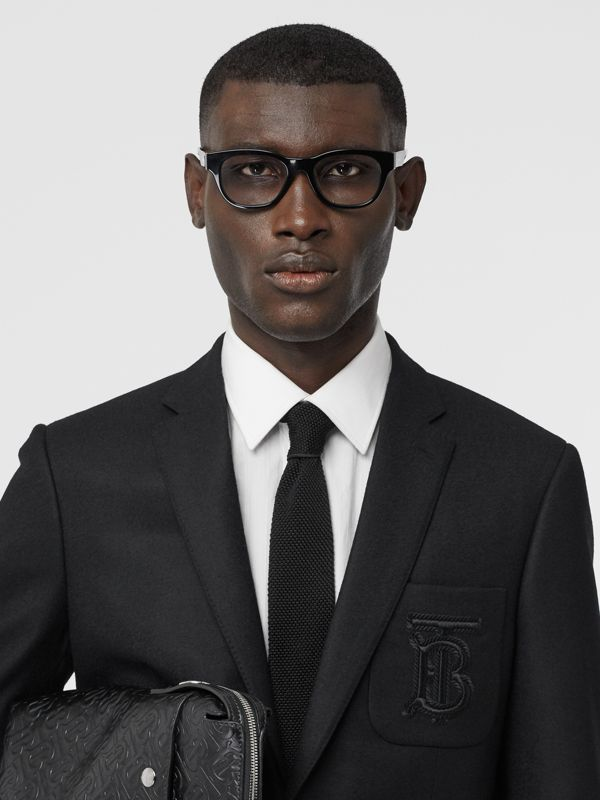 Slim Cut Knit Silk Tie in Black - Men | Burberry United Kingdom - cell image 2