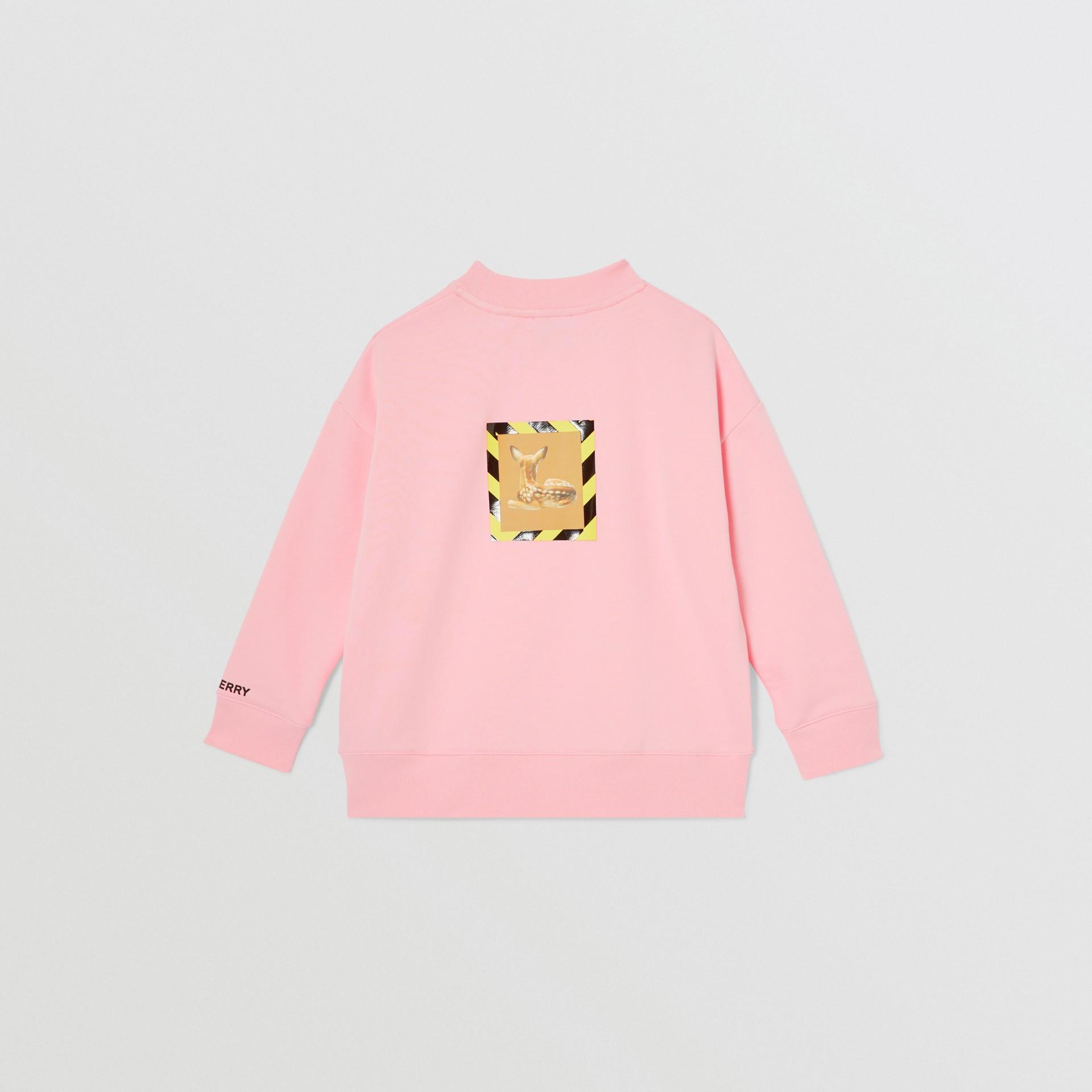 Deer Print Cotton Sweatshirt in Candy Pink | Burberry Australia - gallery image 3
