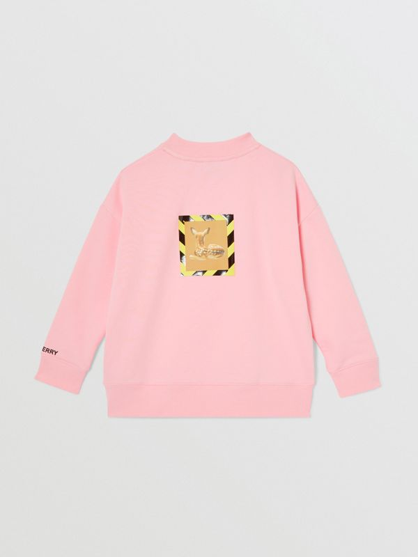 Deer Print Cotton Sweatshirt in Candy Pink | Burberry Australia - cell image 3