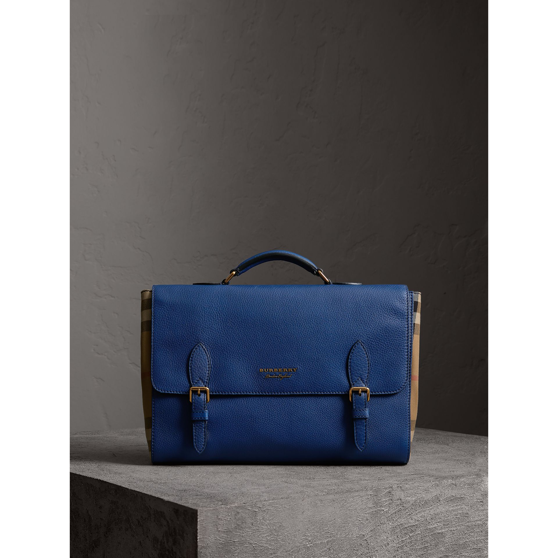 Leather and House Check Satchel in Deep Blue - Men | Burberry United Kingdom - gallery image 0