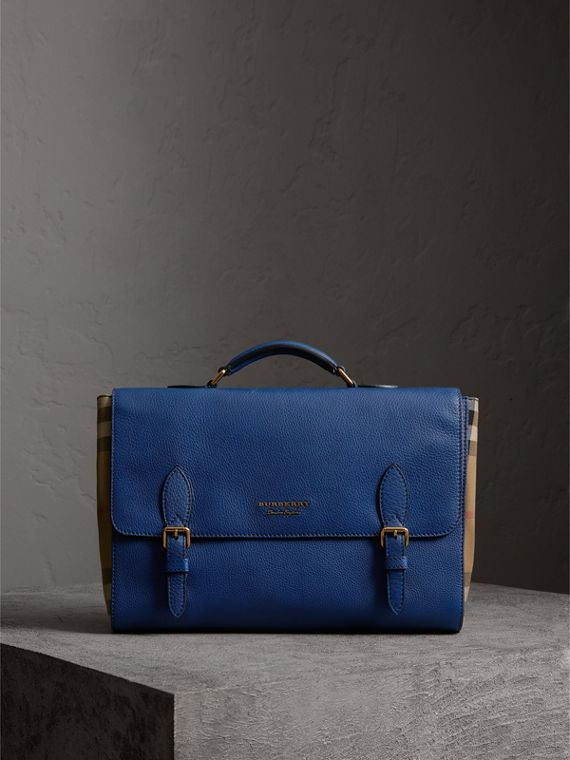 Leather and House Check Satchel in Deep Blue
