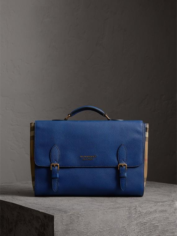 Bolsa satchel de couro e House Check (Azul Escuro)